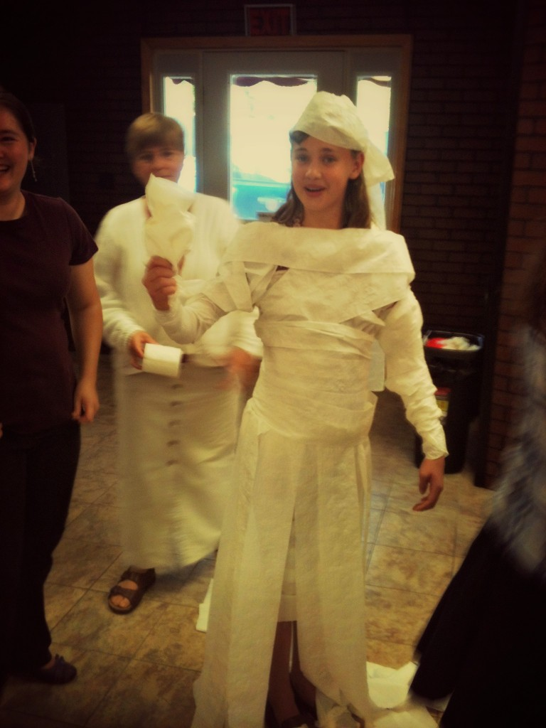 We played the toilet paper bride game! All the wedding dresses were made with toilet paper!