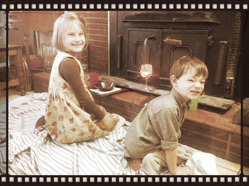 Emma and Paul had their own seats by the fireplace!