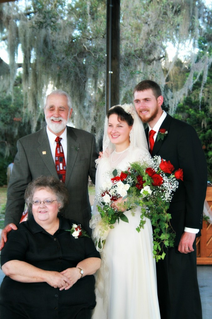 The happy couple with the Grandparents of the bride.