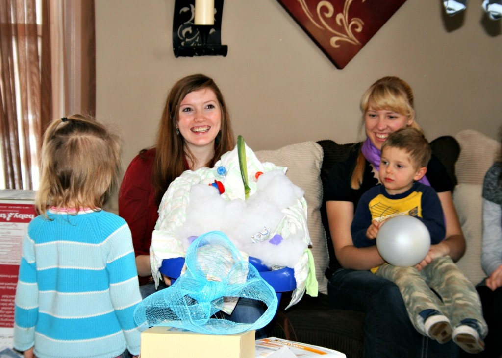 Somebody made an adorable baby showers out of a baby washtub! Esther loved it!