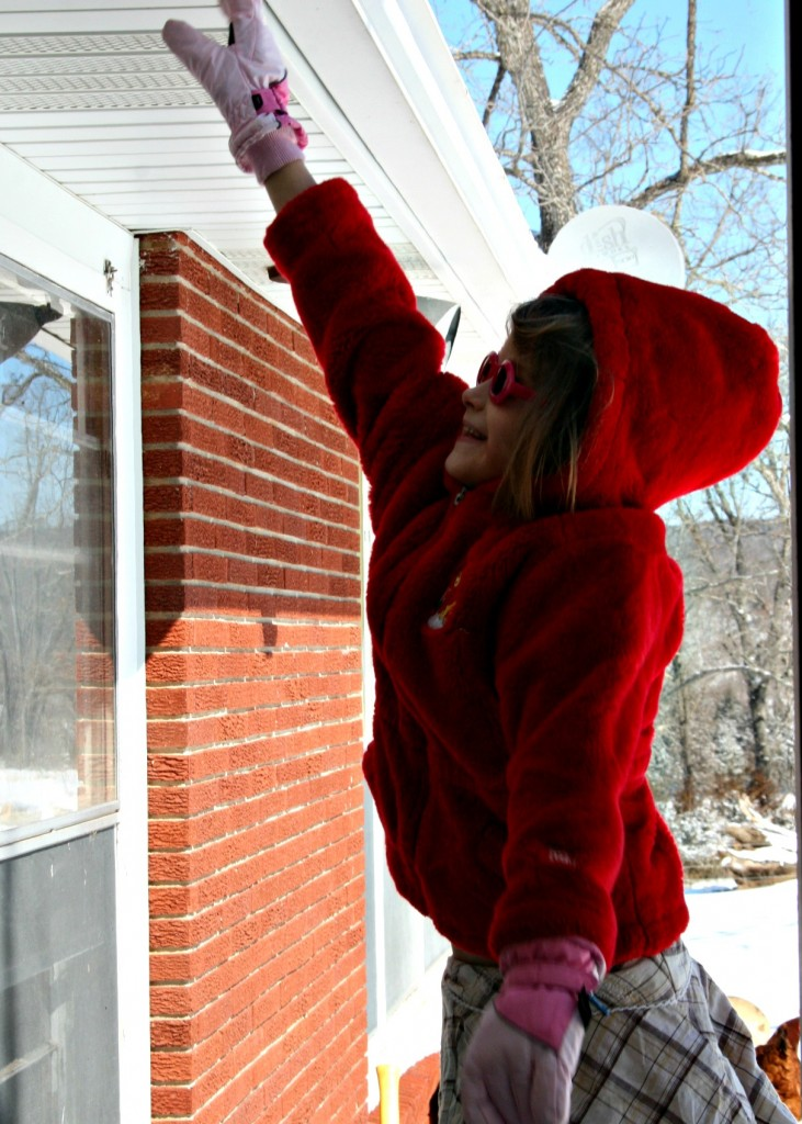 Emma Jane shews us how much sleet we got one day. She is standing on a drift and touching the roof.