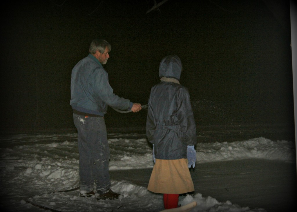Rosie and Papa experiment in making a ice rink.