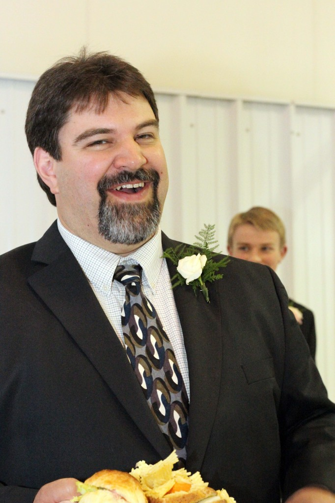Mr. Underwood is one of the happiest, jolliest people I know. He was especially happy on his son's wedding day!